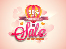 Sale Poster, Banner or Flyer for Valentine's Day. Royalty Free Stock Photography