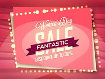 Sale Poster, Banner or Flyer for Women's Day. Royalty Free Stock Photo