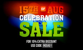 Sale Poster or Banner for Indian Independence Day. 15th of August celebration Sale, Creative Sale Poster, Sale Banner, Sale Flyer, 15% Extra Discount, Sale Royalty Free Stock Photo
