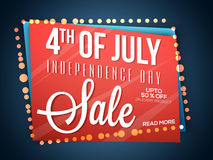 Sale Poster or Banner for 4th of July. 4th of July, American Independence Day concept with Sale Poster, Sale Banner, Sale Flyer, Upto 50% Off on Every Product stock illustration