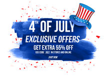 Sale Poster or Banner for 4th of July. 4th of July Exclusive Offers Sale, Sale Poster, Sale Banner, Sale Flyer, Extra Discount Offer, 55% Off, Online Sale Stock Image