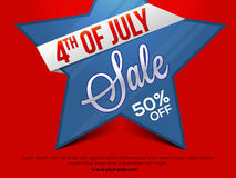 Sale Poster or Banner for 4th of July. 4th of July Sale, Sale Poster, Sale Banner, Sale Flyer, Sale Tag, Sale Background, 50% Discount Offer. Vector Stock Photos