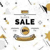 Sale poster with black and gold geometric shapes. Super Sale vector illustration. Vector background in retro 80s, 90s memphis style Royalty Free Stock Images