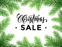 Sale poster with Christmas tree background discount promotion. Promotion discount sale poster with Christmas tree background. New Year holiday seasonal shop Stock Images