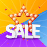 Sale poster on colorful background with star, Vector Star with bulb for shopping design Royalty Free Stock Photos