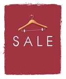 Sale Poster. Concepts with cloth hanger on unfinished red paint background. Negative space on below can be used to put word like discount up to 50% off or the royalty free illustration