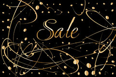 Sale poster design with black background, gold text, blot paint drops glitter Royalty Free Stock Images