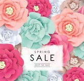 Sale poster design. Spring sale poster with beautiful blossom flowers Royalty Free Stock Photos