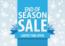 Sale poster; end of season sale with stylized white snowflakes Stock Photos