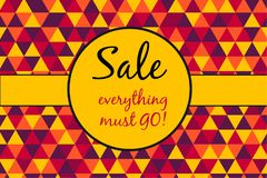 Sale poster, everything must go text on retro triangles pattern background stock illustration