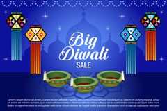 Sale Poster for Festival of Diwali Celebration Background. Diwali lantern on blue background Stock Photography