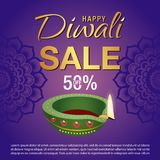 Sale Poster for Festival of Diwali Celebration Background. Diwali lantern and sale text Royalty Free Stock Photo