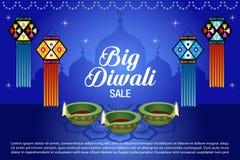 Sale Poster for Festival of Diwali Celebration Background. Diwali lantern and sale text Stock Image