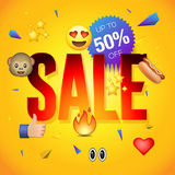 Sale poster or flyer design on colorful background, use for online shopping and advertising Stock Image