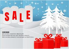 Sale poster or flyer design in paper art style with snowflake in Christmas season. vector Illustration Stock Images