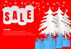 Sale poster or flyer design in paper art style with snowflake in Christmas season. vector Illustration Stock Photo