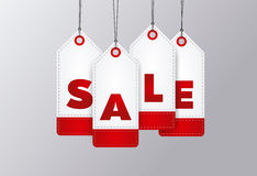 Sale poster. Four price tags with sale word written on it. Vector Royalty Free Stock Image