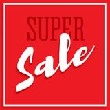Sale poster with frame, volumetric text and shadow. Clearance super sale banner on red background. Sale and discounts. Template. Editable flyer, 3D illustration Royalty Free Stock Photo
