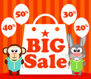 Sale poster with funny animal Stock Images