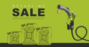 Sale Poster for gas station with fuelling nozzel and oil canisters, template layout. Sale Poster for gas station with fuelling nozzel and oil canisters, in green royalty free illustration