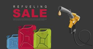 Sale Poster for gas station with fuelling nozzel and oil canisters. Template layout vector illustration