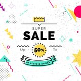 Sale poster with geometric shapes. Super Sale vector illustration. Vector background in retro 80s, 90s memphis style Royalty Free Stock Image
