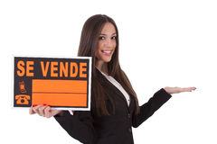 For sale. Poster girl sells isolated, sale Royalty Free Stock Images