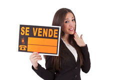 For sale. Poster girl sells isolated, sale Royalty Free Stock Image