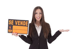 Sale. Poster girl sells isolated, sale Royalty Free Stock Images