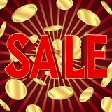 Sale poster with gold coins Royalty Free Stock Photo
