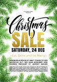Sale poster gold glitter text placard Christmas promo offer Royalty Free Stock Image