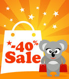 Sale poster with koala Stock Photo