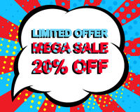 Sale poster with LIMITED OFFER MEGA SALE 20 PERCENT OFF text. Advertising vector banner Royalty Free Stock Photography