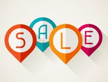 Sale poster with location markers in flat design Stock Photo