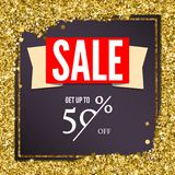 Sale poster with luxury gold sparkle glitter. Get up to fifty percent discount. Poster for ad and marketing. Template. For shopping events and printing brochure Royalty Free Stock Photography