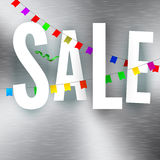 Sale poster on metal texture Royalty Free Stock Photos