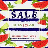 Sale poster with mint, watermelon and lime slices. Vector illustration. stock illustration