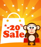 Sale poster with monkey Stock Photo