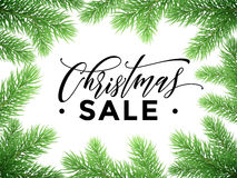 Sale poster for New Year discount promo offer. Promo sale poster for Christmas. Hand drawn calligraphy lettering text. New Year holiday seasonal discount offer vector illustration