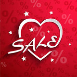 Sale  poster.Paper heart shape with word SALE ,sta Stock Photo