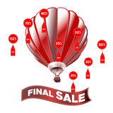 Sale poster with percent discount. Bright vector banner with air balloon and ribbon. Vector illustration. Design for banner, flyer Royalty Free Stock Images