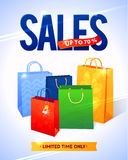 Sale poster with percent discount. Illustration of. Paper shopping bags Stock Photos