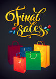Sale poster with percent discount. Illustration of. Paper shopping bags. Shopping sale design template Royalty Free Stock Photography