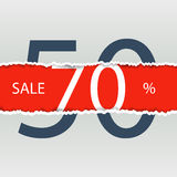 Sale poster with percent discount. Torn paper. Stock Photo