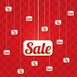 Sale poster with percent discount (vector). Abstract sale background. Shopping modern icons Royalty Free Stock Photos