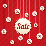 Sale poster with percent discount (vector). Abstract sale background. Shopping modern icons Stock Photo