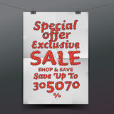 Sale poster with percent discount Stock Images