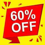 Sale poster with 60 PERCENT OFF text. Advertising vector banner. Sale poster with 60 PERCENT OFF text. Advertising  and red vector banner template Royalty Free Stock Image