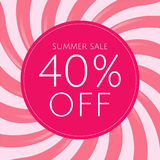 Sale Poster With Pink Sunburst royalty free stock image