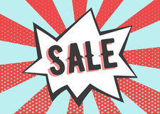 Sale poster in pop art style. Retro rays with dots banner Royalty Free Stock Photography